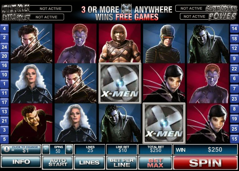 X-Men Video Slot Screen