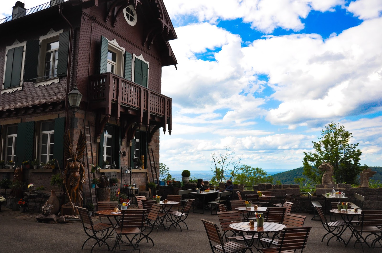 The outside seating area of the restaurant in the Yburg Castle, Yburg, Germany