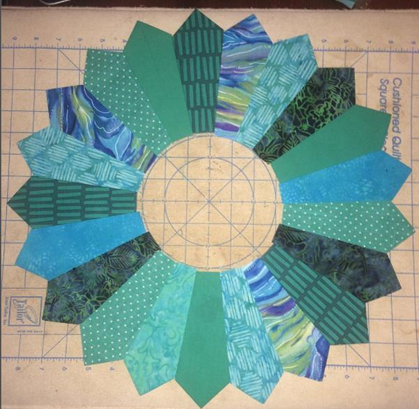 Teal mini swap quilt - Tula Pink dresden