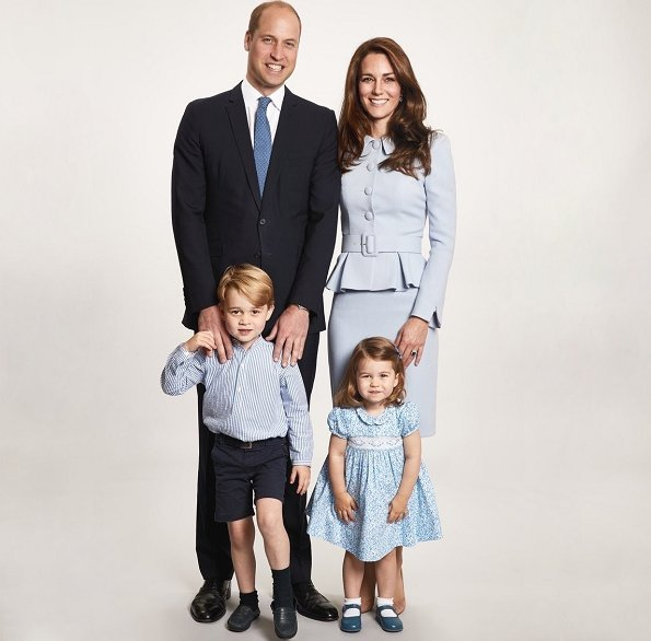 Prince George and Princess Charlotte, Kate Middleton, Prince William. Kate wore Alexander McQueen blue dress