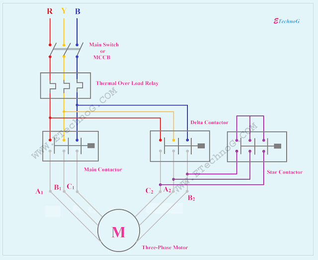 Star Delta Starter Power Circuit Diagram, Star Delta Starter connection