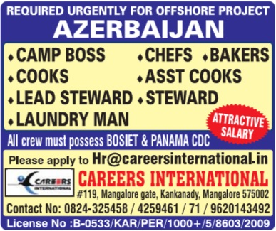 Offshore catering jobs pay