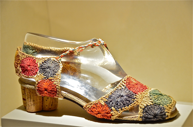 d367319a5ce Ferragamo used rafia for the upper and then cork for the heel of this shoe.  This was made somewhere between 1936- 1938.