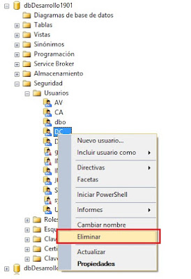 eliminar usuario de Base de Datos SQL Server