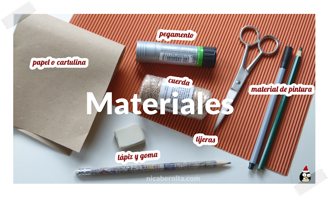 Materiales casa de papel, caja de cartulina o cartón. Manualidades para Navidad