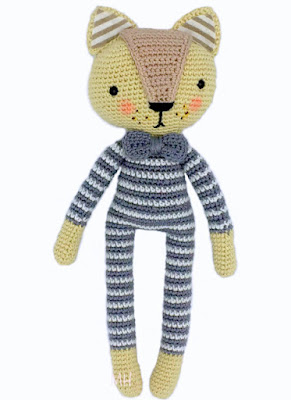amigurumi crochet doll cat in striped pajamas with bow tie