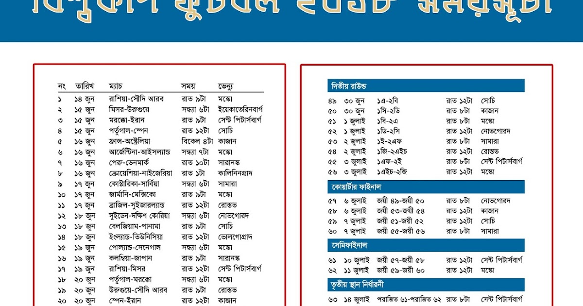 FIFA World Cup Football 2018 Fixture in Bangladesh Time