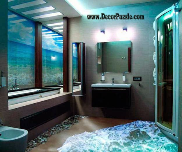 3d bathroom floor murals designs, self-leveling floors for unique bathroom flooring ideas