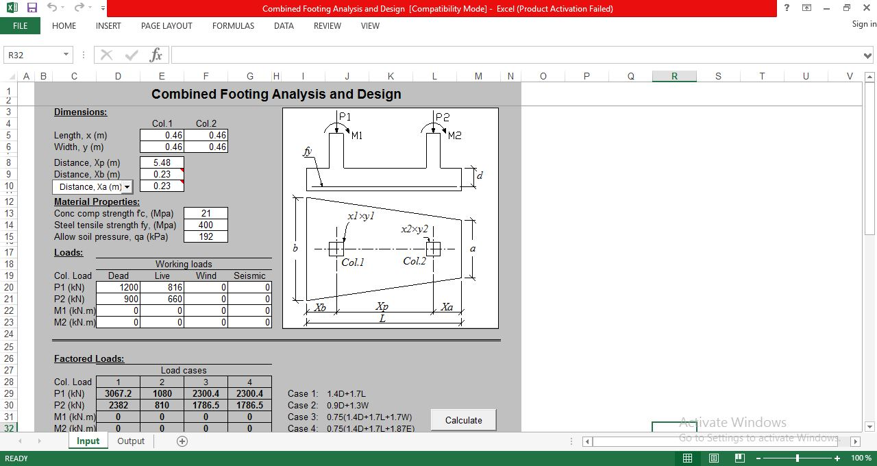 Combined Footing Analysis And Design Spreadsheet Download Free