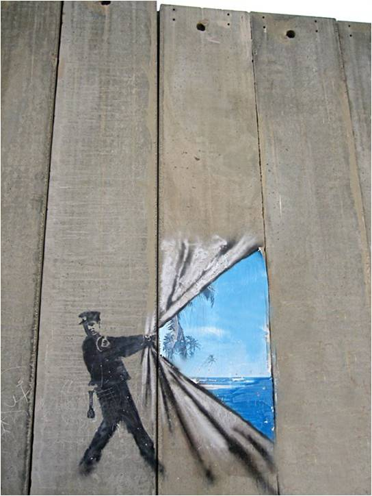 who controls reality rolling back the wall banksy 2005. Black Bedroom Furniture Sets. Home Design Ideas