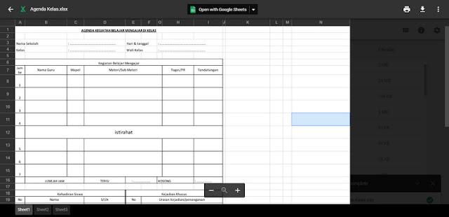 Contoh Format Buku Agenda Kelas Excel Revisi Terbaru