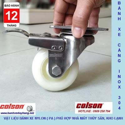 Bánh xe đẩy tải trọng 100kg đến 136kg nhựa PA càng inox Colson www.banhxepu.net