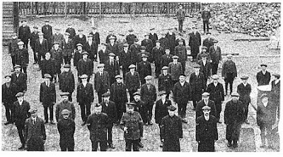 Bury men (the 'Bury Bantams') reporting for duty early in the war.  Many were to die at Gallipoli.