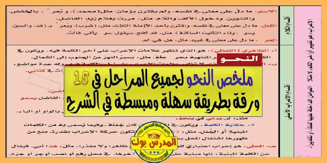 """تلخيص قواعد اللغة العربية """" النحو """" PDF برابط مباشر في 15 ورقة فقط"""