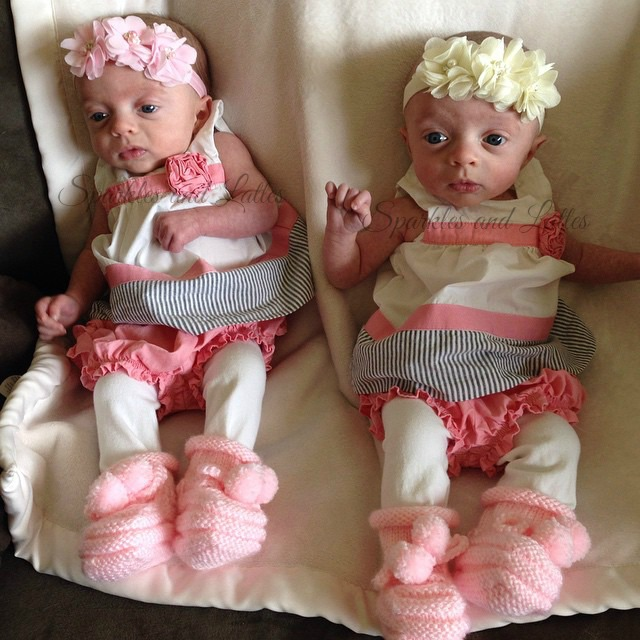 twins in Easter dresses