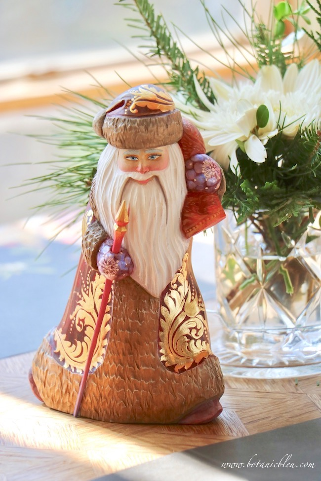 russian hand carved wooden santa