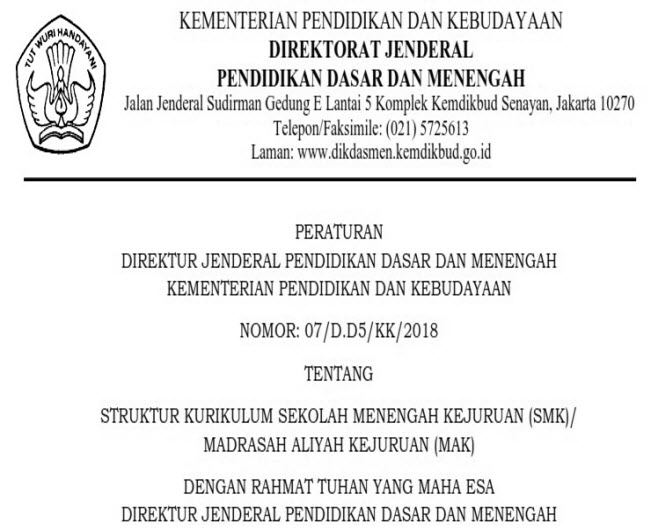 SK DIRJEN tentang Struktur Kurikulum 2013 untuk SMK/MAK. (Terbaru Terbit 7 JUNI 2018