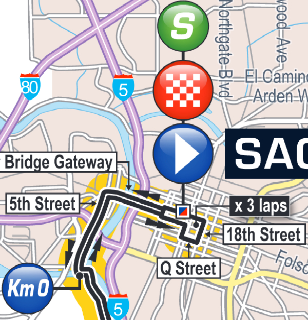 Map of Sacramento Tour of California 2016