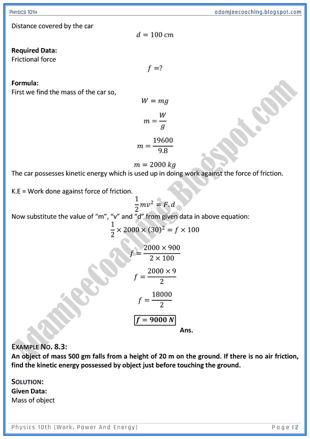 Adamjee Coaching Mcat Physics Work Power And Energy Mcqs For Medical