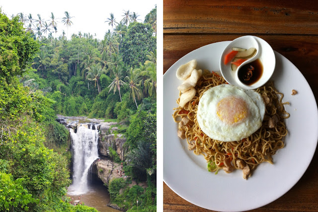 Waterfall and food in Bali