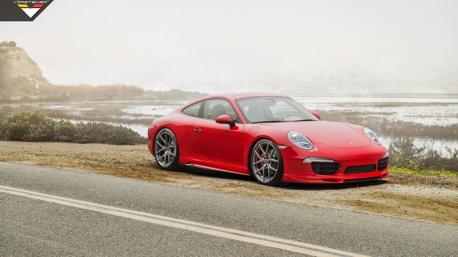 Red Porsche on Road Car Wallpaper Photo