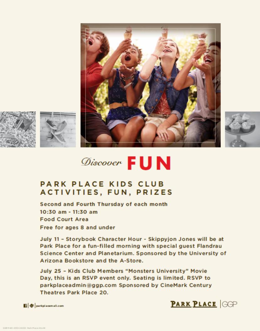 Arizona Families Park Place Kids Club Free Movie Monsters