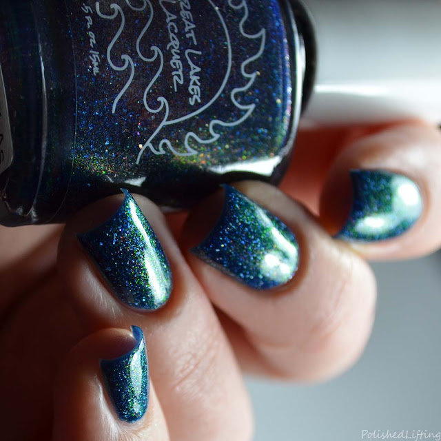 blue nail polish with copper flake