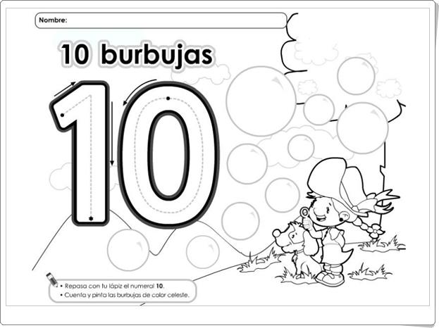 SUPERLÁMINAS DE NÚMEROS DEL 1 AL 10
