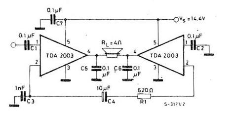 18W TDA2003 bridge Circuit    Diagrams      Electronic Circuits