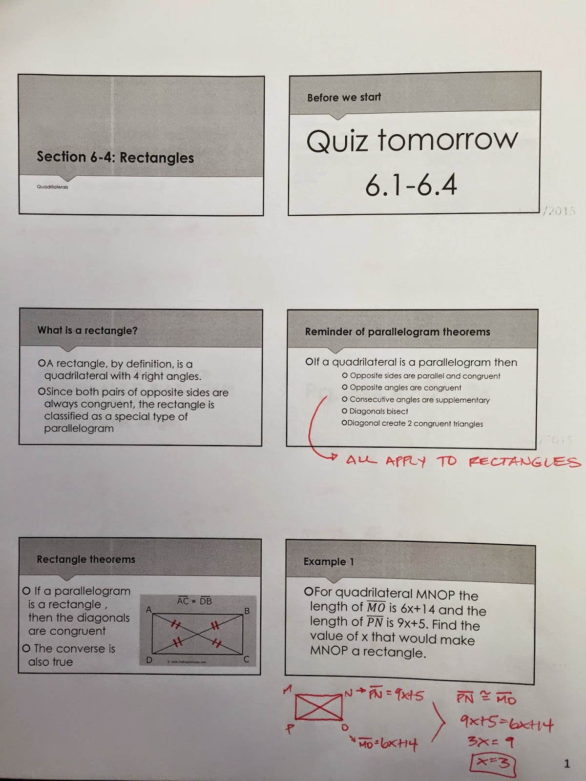 Honors Geometry - Vintage High School: Section 6-4: Rectangles