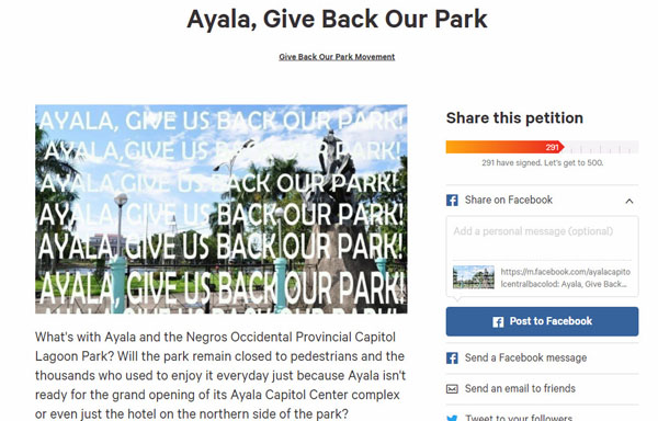 Bacolod Capitol Lagoon and Park online petition