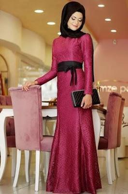 Gambar gaun pesta muslimah cantik unik