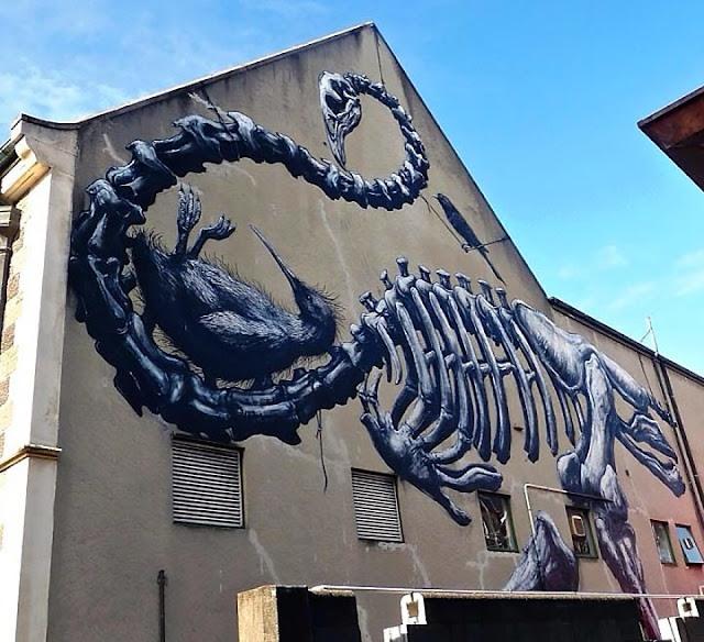 New Street Art Mural By Belgian Urban Artist ROA For Rise Festival In Christchurch, Australia. 1