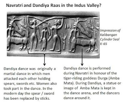 Kalibangan cylinder seal K-65 depicts a martial dance such as Dandiya performed in honour of Durga, the tiger-riding goddess