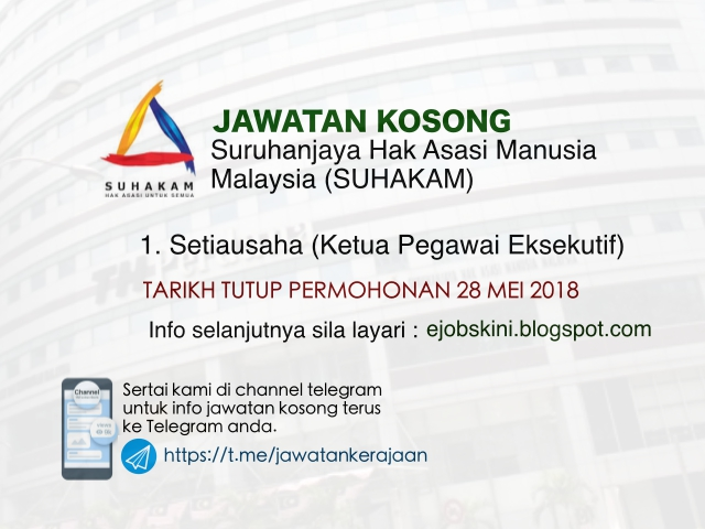 Jawatan Kosong Suhakam 2018
