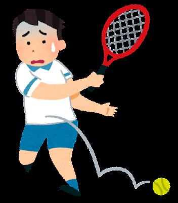スランプのテニス選手のイラスト(男性)