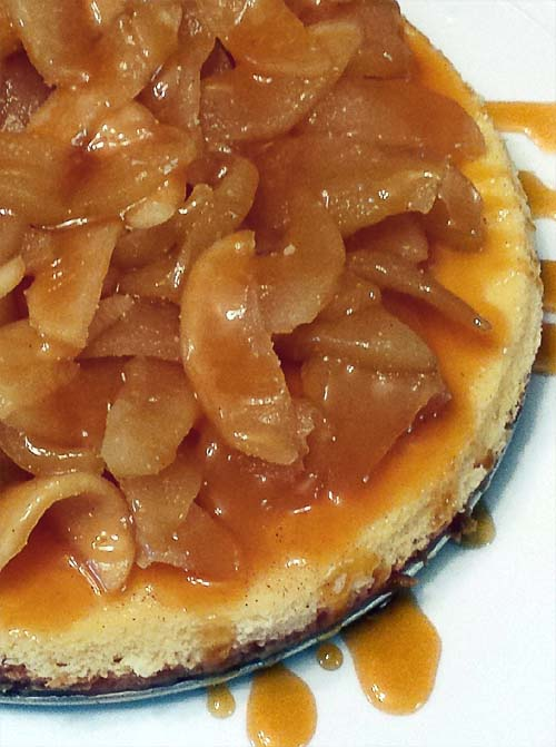 Caramel Apple Cheesecake. A New York style cheesecake topped with caramelized apple. Yum!