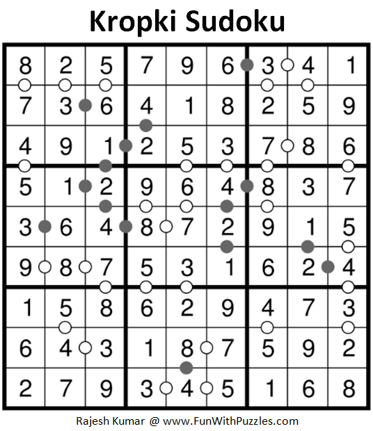 Kropki Sudoku Puzzles (Fun With Sudoku #225) Solution