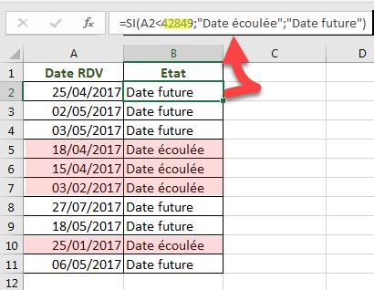 Fonction SI avec date sous forme de numéro de série