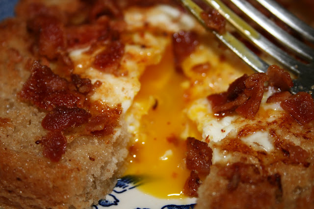 Birds in a Nest or Egg in the Hole, is a simple dish - just an egg, fried into the center of a slice of bread and finished with a sprinkle with bacon.