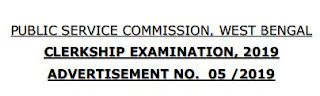 WEST BENGAL PUBLIC SERVICE COMMISSION  CLERKSHIP EXAMINATION 2019