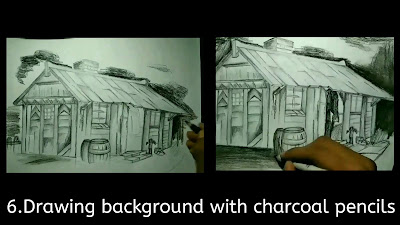 How to draw background of scenery drawing, step by step guide
