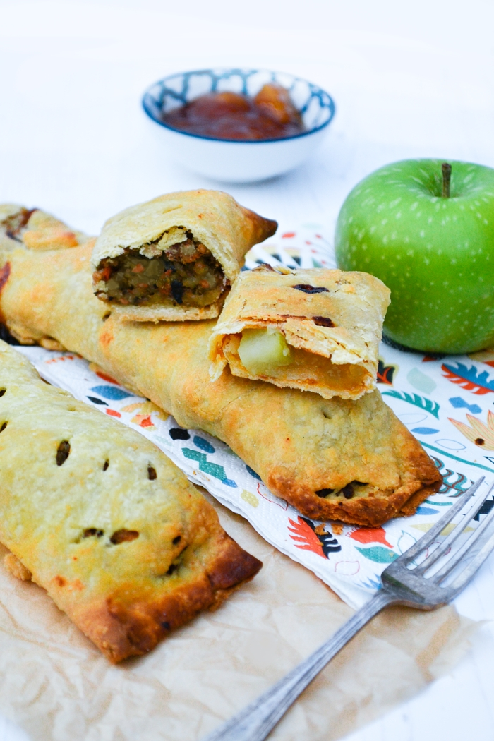 Veggie Haggis & Apple Bedfordshire Clangers on greaseproof paper