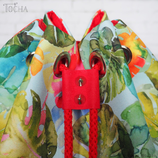drawstring, monstera, bucket bag, round bag, tropical leaves, rainbow, Washpapa, vegan leather, snap pap, kraft tex, tashe, vegan leder, vegan bag, watercolour, monstera deliciosa,