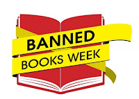 illustrated image of a book.  Text: Banned Books Week