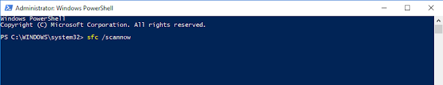 windows powershell, sfc scannow