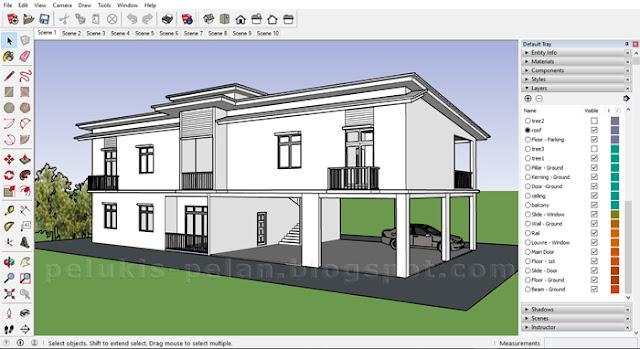 lukisan sketchup model rumah 3d
