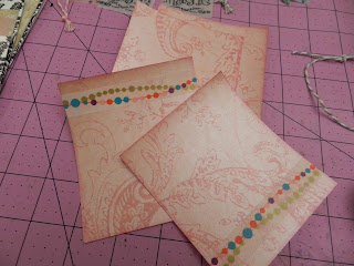 Card pieces with washi tape border and inked edges