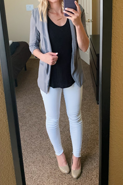 White jeans with a grey blazer