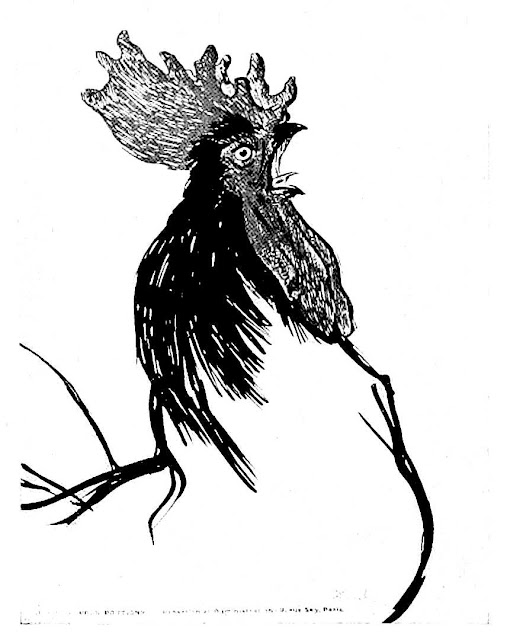 Theophile-Alexandre Steinlen drawing of rooster crowing